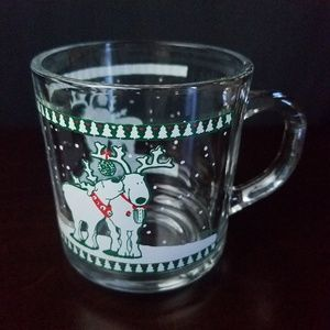 VTG Anchor Hocking Christmas Reindeer Mug